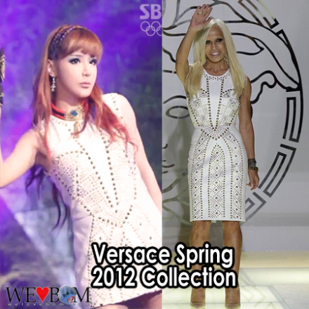 (L) Park Bom @ 2NE1 SBS Inkigayo Comeback Stage, (R) Donatella Versace wearing her own work